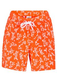 Pomarańczowe spodnie bonprix z nadrukiem