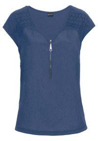 Niebieska bluzka bonprix na spotkanie biznesowe, biznesowa