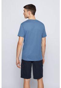 BOSS - Boss - T-shirt Boss Casual. Okazja: na co dzień. Kolor: niebieski. Materiał: dzianina. Wzór: nadruk. Styl: casual