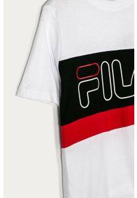 Biały t-shirt Fila casualowy, z okrągłym kołnierzem, na co dzień, z nadrukiem