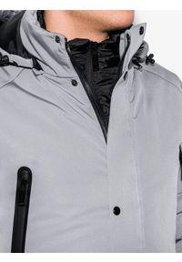 Szara kurtka Ombre Clothing ze stójką, na zimę #9