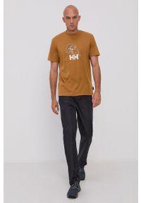 Helly Hansen - T-shirt. Okazja: na co dzień. Kolor: brązowy. Materiał: dzianina, materiał. Wzór: nadruk. Styl: casual