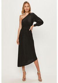 Czarna sukienka only midi, rozkloszowana