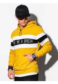 Ombre Clothing - Bluza męska z kapturem B1066 - żółta - XXL. Typ kołnierza: kaptur. Kolor: żółty. Materiał: poliester, bawełna. Wzór: nadruk
