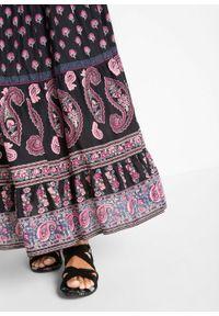 Czarna spódnica bonprix z nadrukiem, długa