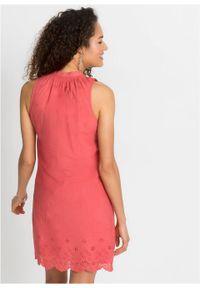 Sukienka z ażurowym haftem bonprix czerwony. Kolor: różowy. Wzór: haft, ażurowy