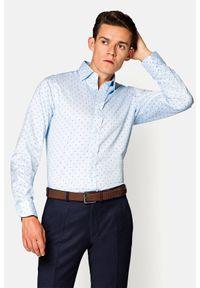Lancerto - Koszula Błękitna Wzór Geometryczny Miriam. Kolor: niebieski. Materiał: bawełna, tkanina, wełna. Wzór: geometria