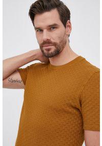 Sisley - T-shirt bawełniany. Kolor: brązowy. Materiał: bawełna. Wzór: gładki