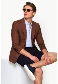 Lancerto - Marynarka Ceglasta w Kratę Medina. Typ kołnierza: golf. Kolor: czerwony. Materiał: len, poliester, wełna, wiskoza, tkanina, jeans. Wzór: kolorowy, melanż, ze splotem. Sezon: lato, wiosna