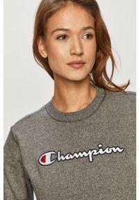 Champion - Bluza bawełniana. Okazja: na co dzień. Kolor: szary. Materiał: bawełna. Wzór: aplikacja. Styl: casual