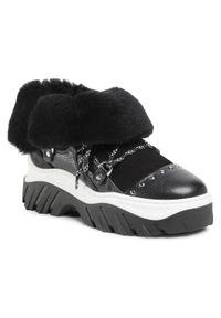 Czarne buty sportowe Inuikii z aplikacjami, na koturnie, trekkingowe, z cholewką