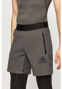 Adidas - adidas - Szorty. Okazja: na co dzień. Kolor: szary. Materiał: poliester. Styl: casual