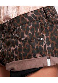ONETEASPOON - Brązowe spodenki w cętki Bandits. Kolor: brązowy. Materiał: bawełna. Wzór: motyw zwierzęcy, aplikacja. Styl: klasyczny, boho