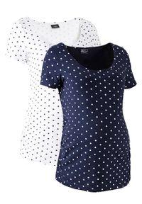 Shirt ciążowy z krótkim rękawem (2 szt.), bawełna organiczna bonprix biały + ciemnoniebieski w kropki. Kolekcja: moda ciążowa. Kolor: biały. Materiał: bawełna. Długość rękawa: krótki rękaw. Długość: krótkie. Wzór: kropki