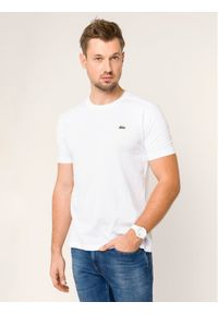 Lacoste T-Shirt TH7618 Biały Regular Fit. Kolor: biały