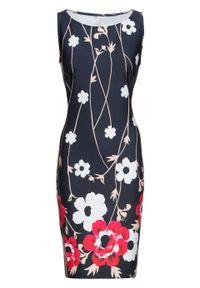 Sukienka ołówkowa w kwiatowy deseń bonprix czarno-biel wełny - różowy w kwiaty. Kolor: czarny. Materiał: wełna. Wzór: kwiaty. Typ sukienki: ołówkowe