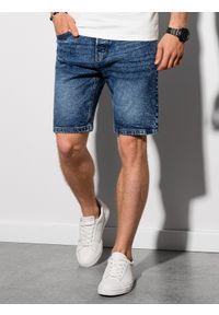 Ombre Clothing - Krótkie spodenki męskie jeansowe W305 - niebieskie - XXL. Kolor: niebieski. Materiał: jeans. Długość: krótkie