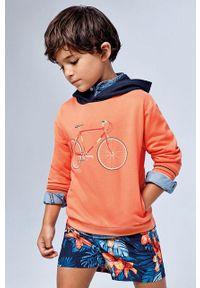 Pomarańczowa bluza Mayoral z kapturem, z nadrukiem