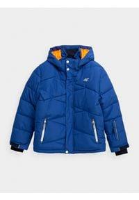 4f - Kurtka narciarska chłopięca (122-164). Kolor: niebieski. Materiał: poliester, materiał. Sezon: zima. Sport: narciarstwo