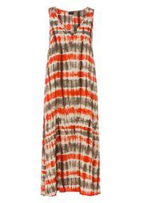 Sukienka z dekoltem w serek bonprix pomarańczowo-brązowy z nadrukiem. Typ kołnierza: dekolt w serek. Kolor: pomarańczowy. Wzór: nadruk. Styl: elegancki
