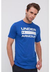 Under Armour - T-shirt/polo 1329582. Typ kołnierza: polo. Kolor: niebieski. Materiał: dzianina. Wzór: nadruk