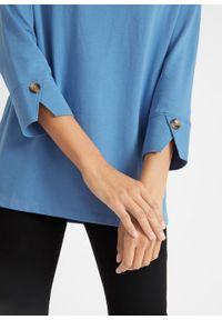 Shirt oversize o waflowej fakturze, rękawy 3/4 bonprix błękitny. Kolor: niebieski