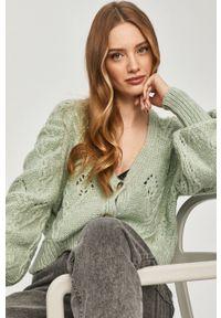 Miętowy sweter rozpinany Answear Lab wakacyjny, gładki