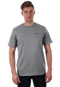 Szary T-shirt Męski, Krótki Rękaw, Just Yuppi, Popielata Koszulka z Logo, Melanż. Okazja: na co dzień. Kolor: szary. Materiał: poliester, bawełna. Długość rękawa: krótki rękaw. Długość: krótkie. Wzór: nadruk. Styl: casual