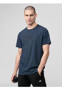 4f - T-shirt męski. Kolor: szary. Materiał: dzianina, jersey, poliester