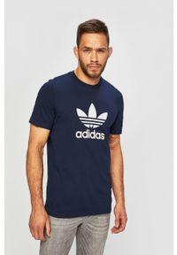 Niebieski t-shirt adidas Originals casualowy, z nadrukiem