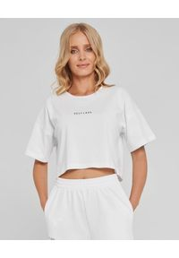 SELF LOVE - Biały t-shirt New York. Okazja: na co dzień. Kolor: biały. Materiał: bawełna, dresówka, jeans. Wzór: nadruk. Styl: elegancki, casual, sportowy