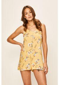 Żółty kombinezon Roxy casualowy, w kwiaty