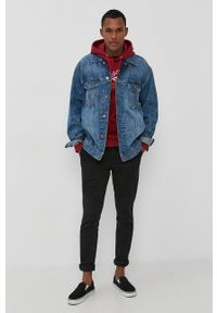 Premium by Jack&Jones - Bluza. Okazja: na co dzień. Kolor: czerwony. Materiał: dzianina. Wzór: nadruk. Styl: casual