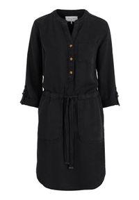 Czarna sukienka Freequent ze stójką, z długim rękawem