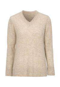 Cellbes Sweter z wełny alpaka i przetworzonego poliestru beżowy female beżowy 62/64. Typ kołnierza: dekolt w serek. Kolor: beżowy. Materiał: poliester, wełna. Styl: klasyczny