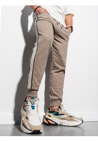 Ombre Clothing - Spodnie męskie dresowe joggery P947 - beżowe - XXL. Okazja: na co dzień. Kolor: beżowy. Materiał: dresówka. Styl: casual