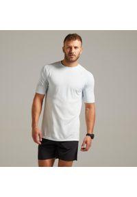 KIPRUN - Koszulka do biegania męska Kiprun Care. Kolor: wielokolorowy, szary, niebieski, biały. Materiał: poliamid, materiał, poliester. Wzór: ze splotem