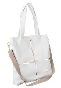 Shopper damski biały Badura T_D176BIA_CD. Kolor: biały. Wzór: geometria. Materiał: skórzane