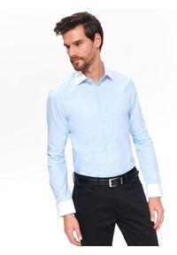 TOP SECRET - Koszula wizytowa o kroju slim. Kolor: niebieski. Materiał: tkanina. Wzór: prążki. Sezon: lato, wiosna. Styl: wizytowy