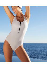 Agnes Jednoczęściowy Kostium Kąpielowy Sportowy Z Ramiączkami Skrzyżowanymi Na Plecach - M - Biały - Etam. Kolor: biały. Wzór: ażurowy