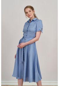 Marie Zélie - Sukienka Ariana lniana szaroniebieska. Kolor: niebieski. Materiał: len. Długość rękawa: krótki rękaw. Sezon: lato. Typ sukienki: szmizjerki, trapezowe