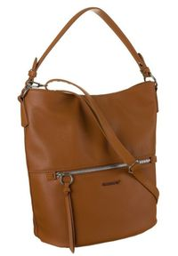DAVID JONES - Shopper bag koniakowy David Jones 6518-1 COGNAC. Materiał: skórzane