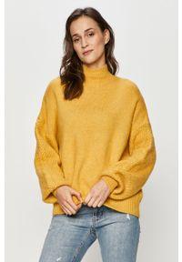 Żółty sweter Answear Lab długi, z golfem, z długim rękawem, wakacyjny