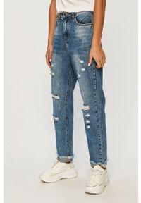 Niebieskie jeansy ANSWEAR wakacyjne, z podwyższonym stanem