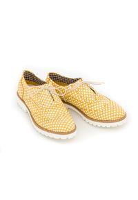 Żółte półbuty Zapato klasyczne, na sznurówki, w kratkę
