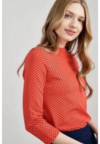 Marie Zélie - Bluza Hermina czerwień wiosenna w kropeczki. Kolor: czerwony. Materiał: bawełna, dzianina, elastan. Sezon: wiosna