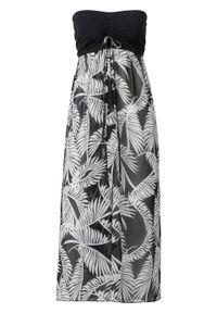 Sukienka plażowa z dekoltem bandeau bonprix czarno-biały. Okazja: na plażę. Kolor: czarny. Styl: elegancki