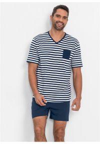 Piżama z krótkimi spodenkami bonprix ciemnoniebiesko-biały w paski. Kolor: niebieski. Długość: krótkie. Wzór: paski #3
