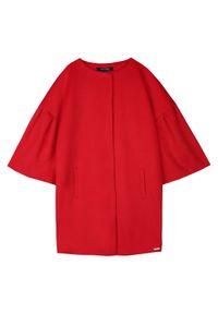 TOP SECRET - Płaszcz damski zapinany z modnym dzwonkowym rękawem. Okazja: na co dzień. Kolor: czerwony. Długość rękawa: krótki rękaw. Sezon: jesień, zima. Styl: casual, elegancki #2