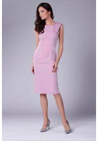 Różowa sukienka wizytowa Nommo ołówkowa, wizytowa